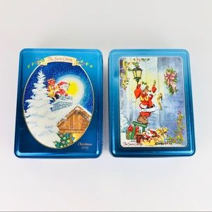 Swiss Colony Tin (2) Santa Mouse , Lot of Two Tins